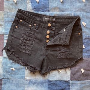 MINKPINK distressed black denim cut off shorts